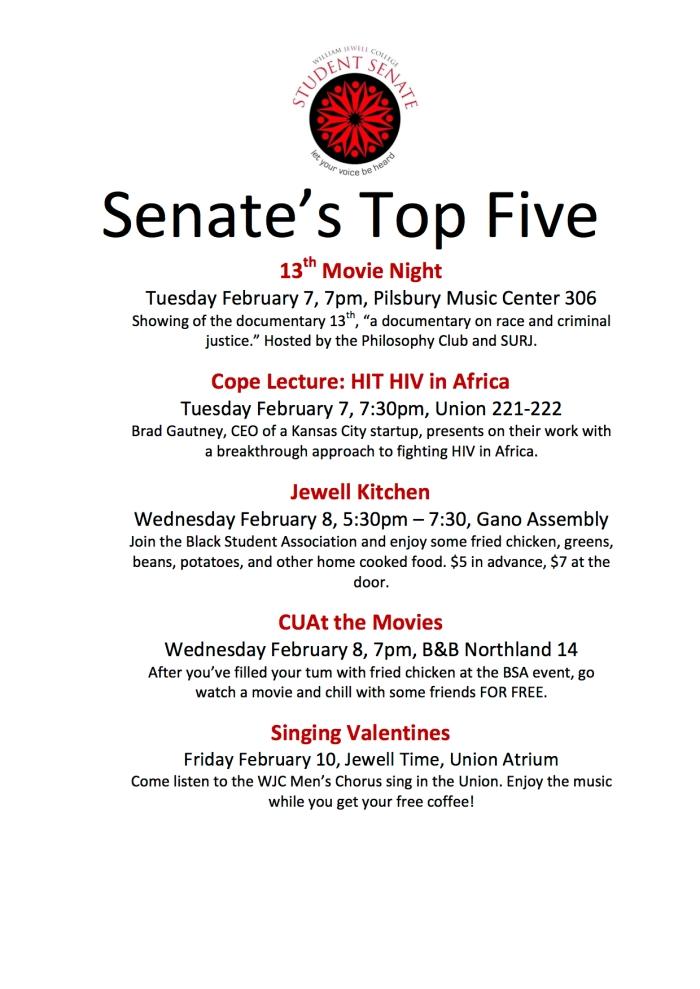 senates-top-five-february-6